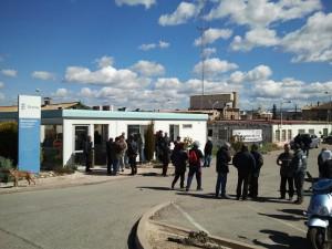 Imatge d'una de les concentracions de treballadors a la porteria d'ERCROS
