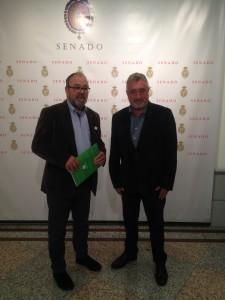 Jose Miguel de las Heras Cabañas ( Coordinador Nacional de Unión de Uniones) i Miquel Aubà (senador d'ERC)